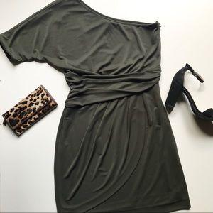 Vince Camuto Olive Green One-Shoulder Dress